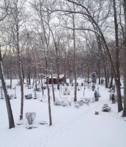 Backyard Cabin in Snow